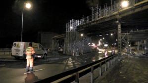 Nocne prace przy wiadukcie kolejowym nad ul. Słowackiego