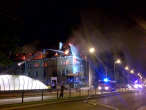 Pożar koszar na ul. Słowackiego w Gdańsku