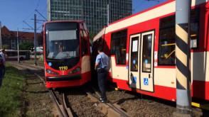 Zderzenie tramwajów przed Zieleniakiem