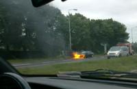 Płonące auto na ul Elbląskiej w Gdańsku