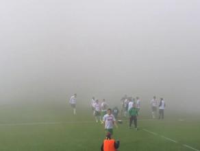 Zadymione boisko spowodowało przerwę w meczu Lechia - Panathinaikos