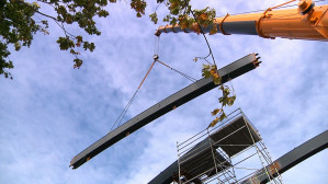 Montaż wiaduktu PKM na Zaspie