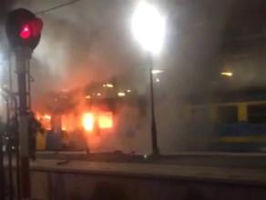 Akcja gaszenia pożaru pociągu w Gdańsku