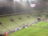 Kibice Lechii świętują z piłkarzami zwycięstwo