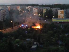 Pożar jednego z budynków na działkach na Witominie