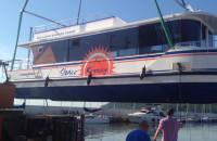 Wodowanie tramwaju wodnego w Gdyni