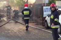 Akcja gaśnicza płonącego warsztatu na Chełmie