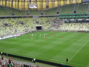 Radość kibiców po golu Lechii w meczu z Wolfsburgiem