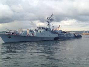 Wypłynięcie korwety ORP Kaszub z Portu Wojennego w Gdyni