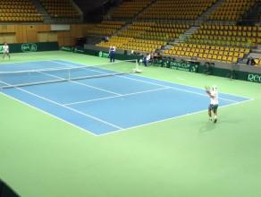 Tenisiści Słowacji testują kort w Gdynia Arena