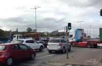 Ciężarówki zablokowały skrzyżowanie