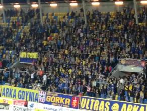 Kibice Arki podczas wygranego meczu z Rozwojem Katowice 4:0