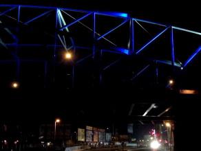 Iluminacja wiaduktu nad koleją we Wrzeszczu
