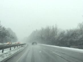 Pierwsze opady śniegu na obwodnicy
