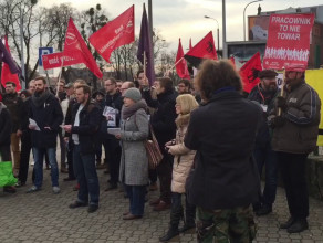 Protest przeciwko wyzyskowi w Polskim Busie