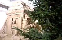 Piaskowa Szopka Bożonarodzeniowa mroźną nocą