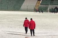 Pierwszy trening 2016 piłkarzy Lechii Gdańsk na śniegu
