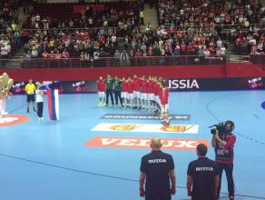 Hymn Rosji przed meczem z Danią