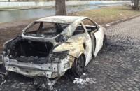 Doszczętnie spalony samochód na Dolnym Mieście