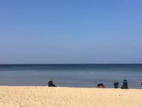 Spacerowicze na plaży w Brzeźnie