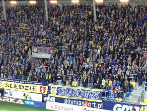 Radość w Gdyni po golu dla Arki na 1:0 z GKS Bełchatów