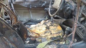 Skutki pożaru samochodów we Wrzeszczu