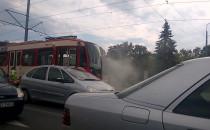 Eskorta dymiącego tramwaju w Gdańsku