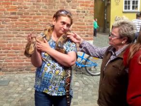 Chodzą z wężem po Długiej w Gdańsku