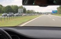 Korek na końcu autostrady A1 na Łódź 7km