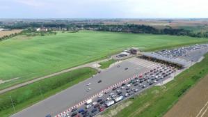 Korek na autostradzie A1 z lotu ptaka