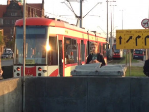 Tramwajowy korek w centrum Gdańska