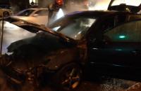 Skutki pożaru auta pod Zieleniakiem