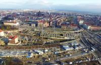 Budowa Forum Gdańsk z lotu ptaka