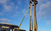 Trwa przegląd techniczny pomnika na placu...