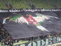 Oprawa Lechii Gdańsk podczas meczu ze Śląskiem Wrocław