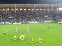 Radość po golu dla Arki Gdynia w meczu z Jagiellonią Bialystok