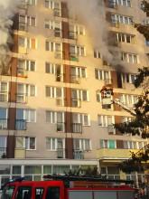 Pożar w wieżowcu na Witominie