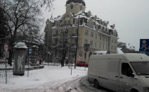 W Sopocie zaczął padać śnieg