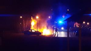 Pożar samochodu w Borkowie