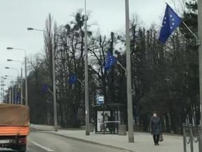 Flagi unii europejskiej na całej al. Zwycięstwa
