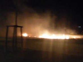 Pożar trawy w Letnicy