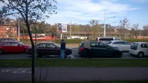 Kolizja 3 samochodów w centrum Gdańska