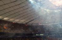 Fajerwerki po zdobyciu przez Arkę Gdynia Pucharu Polski