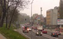 Spory korek na trakcie św Wojciech, śnieg...
