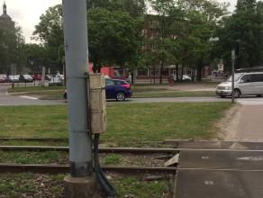 Kolizja auta ze skuterem pod Zieleniakiem