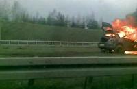 Płonące auto na Armii Krajowej
