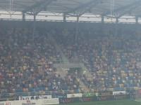 Radość kibiców Arki po pierwszym golu sezonu 2017/18 w Gdyni