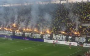 Oprawa kibiców Arki Gdynia na inaugurację ekstraklasy 2017/18