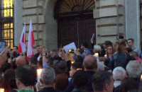 Sędziowie podczas protestu