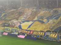 Sektorówka kibiców Arki Gdynia podczas meczu z FC Mitdjylland